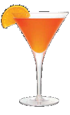 The O-Mazing cocktail is an orange colored drink recipe made from Three Olives orange vodka, orange juice and lime juice, and served in a chilled cocktail glass.