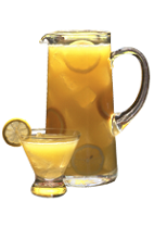 The Open House Punch is a yellow drink made from Southern Comfort, lemon juice, frozen lemonade, frozen orange juice and lemon-lime soda, and served from a pitcher or punch bowl.