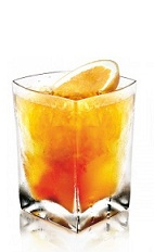 The Orange Disaronno is an orange colored drink made from Disaronno liqueur and orange juice, and served over ice in a rocks glass.