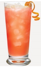 Enjoy a beautiful sunset on the back deck with a refreshing fruit cocktail in a glass. The Orange Sunset is a peach colored drink recipe made from Burnett's orange vodka, lemonade, orange juice and cranberry juice, and served over ice in a highball glass.