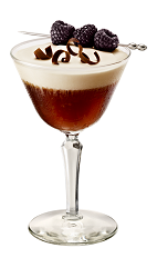 The Parisian Sunrise is made from Chambord flavored vodka, Chambord raspberry liqueur, Kahlua coffee liqueur, dry vermouth and espresso, and served in a chilled cocktail glass.