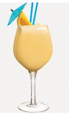 The Passion Cup cocktail recipe is a sexy peach colored Valentine's Day drink made from Burnett's gin, orange juice, passion fruit juice and pina colada mix, and served blended in a chilled wine glass.