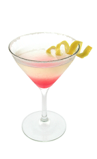 The Passion Drop is a pink colored cocktail made from Smirnoff passion fruit vodka, triple sec, lemon juice and passion fruit syrup, and served in a chilled cocktail glass.