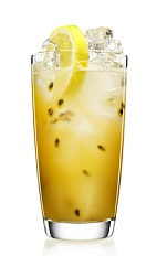 An exciting tropical excursion bordering on the classic Tom Collins, the Passion for Collins is a fruity yellow drink made from Malibu coconut rum, gin, lemon juice, simple syrup, passion fruit and club soda, and served over ice in a highball glass.