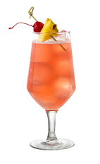 The Passion Fruit Mai Tai is a peach colored drink made from Smirnoff passionfruit vodka, amaretto almond liqueur, lime juice and grenadine, and served in a parfait glass.