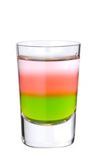 The Passion Killer shot is made from Midori melon liqueur, passionfruit liqueur and silver tequila, and served in a chilled shot glass.