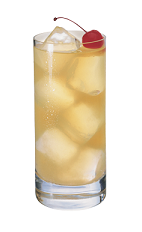 The Passion Lemonade is made from Smirnoff passionfruit vodka and lemonade, and served over ice in a highball glass.