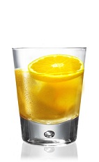 The Patron Old Fashioned is an orange drink made from Patron tequila, bitters, agave nectar and orange juice, and served over ice in a rocks glass.
