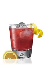 The Tropical Sunset is a red drink made from Patron tequila, orange juice, club soda and pomegranate juice, and served over ice in a rocks glass.