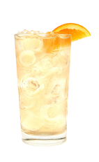 The Peach Buck Fizz is made from Smirnoff peach vodka, lemon juice and ginger ale, and served over ice in a highball glass.