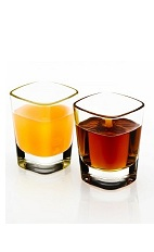 The Peach Disaronno Shot is a brown colored shot and an orange colored shot, made from Disaronno almond liqueur and peach juice, and served in chilled shot glasses.
