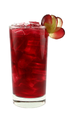 The Peachy Fruit Cocktail is a red colored drink made from Smirnoff peach vodka, cherry liqueur, red grape juice, apple juice and lemon juice, and served over ice in a highball glass.