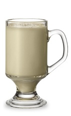 The Peppermint Patty is a cream colored drink made from creme de cacao, peppermint schnapps and half & half, and served in an Irish coffee glass.
