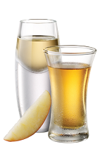 The Pickled Apple is a pair of shots made from Tuaca vanilla citrus liqueur, apple cider vinegar and apple juice, and served in chilled shot glasses.