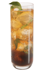 The Piece of Jo' Mint drink recipe is made from Kamora coffee liqueur, peppermint schnapps and ginger ale, and served over ice in a highball glass garnished with fresh mint.
