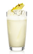 The Pina Colada is a classic beach cocktail made from Malibu coconut rum, coconut cream and pineapple juice, and served over ice in a highball glass.