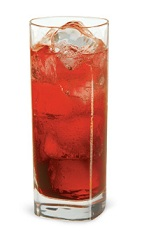 The Pineapple Crush is a tropical red drink made from pineapple schnapps, raspberry schnapps, coconut schnapps and club soda, and served over ice in a highball glass.