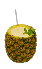 The Pineapple Passion is the ultimate tropical drink when stuck on a deserted island with your lover. Made from Cruzan Passion Fruit rum, pineapple juice, lime juice, honey, cinnamon and pineapple, and served blended inside a pineapple.
