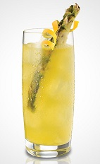 The Pineapple Twist is a yellow colored drink recipe made from Pineapple Twisted gin, sour mix and lemonade, and served over ice in a highball glass.