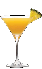 The Pineapple Upside Down Cake cocktail recipe is a liquid version of our favorite dessert cake. An orange colored dessert drink made from Three Olives iced cake vodka, pineapple juice and amaretto, and served in a chilled cocktail glass.