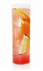 The Pink Firework Lemonade is a pink colored drink made from Effen black cherry vodka, honey syrup, lime, lemon, orange and pink lemonade, and served over ice in a Collins glass.