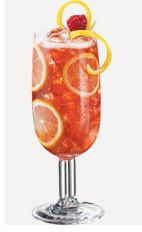 The Pink Lemon Fizz drink recipe is made from Burnett's citrus vodka, PAMA pomegranate liqueur, Sprite lemon-lime soda and sweet & sour mix, and served over ice in a highball glass.