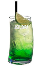 The Pisang Long is a green colored drink recipe made from pisang liqueur, lime juice and Sprite, and served over ice in a highball glass garnished with a lime wedge.
