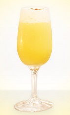 The Pisco Flip cocktail recipe is a yellow colored drink made in the classical method from Fontana Pisco, egg yolk and simple syrup, and served in a sherry glass.