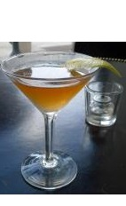 The Piso de Pedra cocktail recipe is made from Boca Loca cachaca, cream sherry, bitters and bay leaf, and served in a chilled cocktail glass.