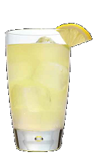 The Pom-Ade drink recipe is a relaxing yellow colored summer cocktail made from Three Olives pomegranate vodka and lemonade, and served over ice in a highball glass.