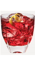 The Pom Breeze cocktail recipe is a red colored drink made from Burnett's pomegranate vodka, cranberry juice and pineapple juice, and served over ice in a rocks glass.