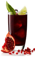 The Pomegranate Gin is a tropical red drink made from Beefeater gin, pomegranate juice, mint and lime, and served over ice in a highball glass.
