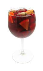 The Pomegranate Sangria is a modern variation of the classic Sangria drink. This red colored drink is made from fresh fruit, Smirnoff pomegranate vodka, red wine, pomegranate juice, orange juice and lemon-lime soda, and served in a wine glass.