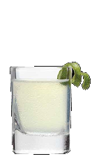 The Popped shot recipe is a clear colored drink made from Three Olives Loopy tropical fruit vodka, Three Olives bubble vodka and lime juice, and served in a shot glass.