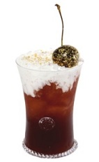 The Profundo drink recipe is made from bourbon, Luxardo cherry liqueur, chocolate liqueur and whipped cream, and served over ice in a rocks glass garnished with a maraschino cherry.