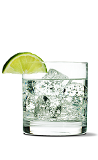 The Pucker Up drink recipe is made from UV Citrus vodka, tonic water and lime, and served over ice in a rocks glass.