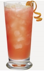 The Punch n Orange is a peach colored drink recipe made from Burnett's fruit punch vodka, orange juice and lemon-lime soda, and served over ice in a highball glass.