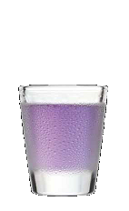 The Grape Chew shot recipe is a vivid purple colored shot waiting for a bachelorette party full of lively girls. Made from Three Olives bubble vodka, purple vodka and sour mix, and served in a shot glass.