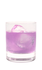 The Purple Harmonie is a purple drink made from Hpnotiq Harmonie and lemon-lime soda, and served in a rocks glass over ice.