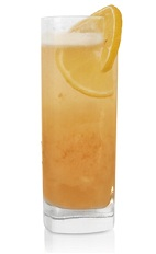 The Quince and Honey Fizz is an orange drink made from Patron tequila, quince syrup, lemon juice, honey, egg white and club soda, and served over ice in a highball glass.