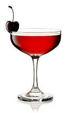 The RAC Cocktail is a red cocktail made from Beefeater gin, sweet vermouth, dry vermouth, orange bitters and grenadine, and served in a chilled cocktail glass or champagne coupe.