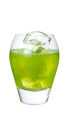 The Randy Little Kiwi drink is made from Midori melon liqueur, vodka, kiwi fruit and sugar, and served over ice in a rocks glass.