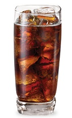 The Raspberry Cola is a brown drink made from Pucker raspberry schnapps and cola, and served over ice in a highball glass.