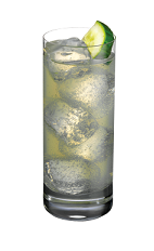 The Raspberry Cooler drink is made from Smirnoff raspberry vodka, lime juice and lemon-lime soda, and served over ice in a highball glass.