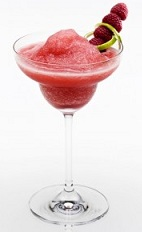 The Raspberry Disarita is a frozen summer delight. A red cocktail made from Disaronno, tequila, raspberry juice and margarita mix, and served in a chilled margarita glass.