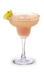 The Raspberry Pina Colada is a pink drink made from Razzmatazz raspberry schnapps, rum and pina colada mix, and served in a chilled margarita glass.