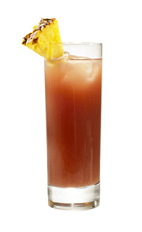 The Raspberry Rumble drink recipe is an orange colored cocktail made from Chymos raspberry liqueur, blueberry liqueur and pineapple juice, and served over ice in a highball glass garnished with a pineapple wedge.