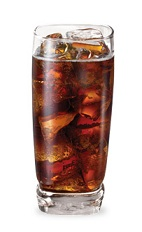 The Raspberry Thrill is a brown drink made from Razzmatazz raspberry schnapps, vanilla liqueur and cola, and served over ice in a highball glass.