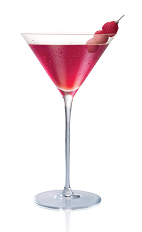 The Raz Clover Club cocktail is made from Stoli Razberi raspberry vodka, raspberries and simple syrup, and served in a chilled cocktail glass.