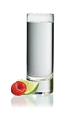 The Raz Shake Shot is made from Stoli Razberi raspberry vodka and Stoli Vanil vanilla vodka, and served in a chilled shot glass.